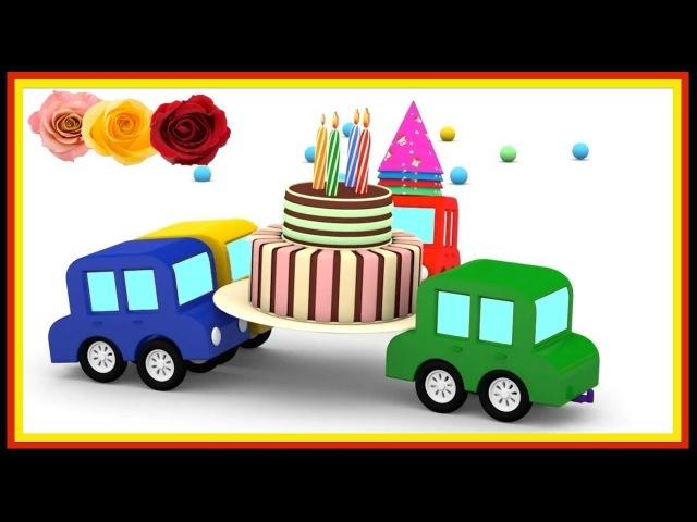 Dessin animé éducatif en français pour enfants anniversaire des 4 voitures