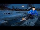 Как нарисовать снег ночь луну дорогу лужу дома ► зимний пейзаж часть 1