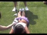 VIDEO: Playboy model Elizabeth Dickson whacked in butt with golf club leading to lawsuit