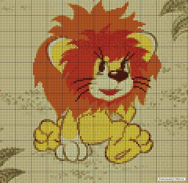 Схема вышивки львенка мультик