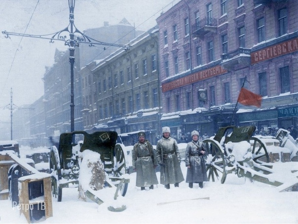 Баррикады, угол Литейного и Сергиевской. Петроград, 23 февраля 1917 года.