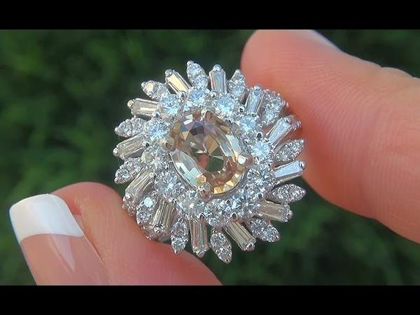 GIA Certified VVS Natural NO HEAT Yellow Sapphire Diamond 18k Gold Engagement Ring - C576