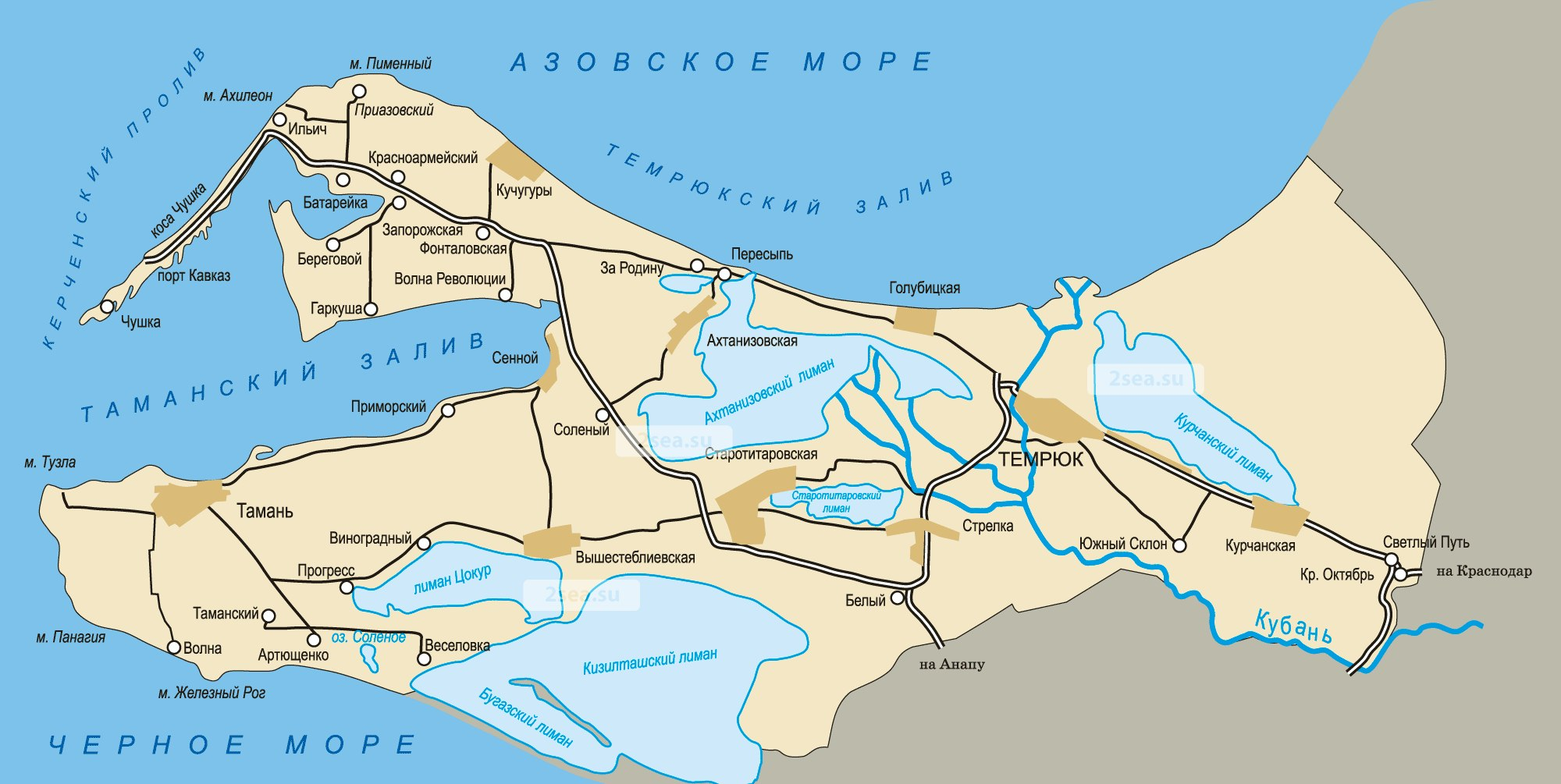 Таманский полуостров и дельта Кубани. Временами Кубань пробивала себе протоки от Азовского моря к Черному