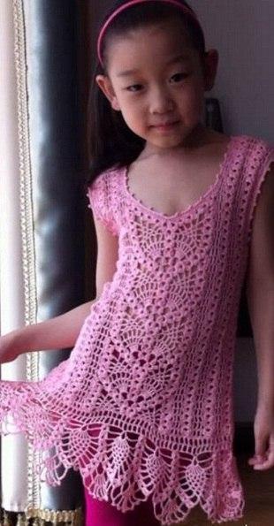 Ажурное платье для девочки крючком (6 фото) - картинка