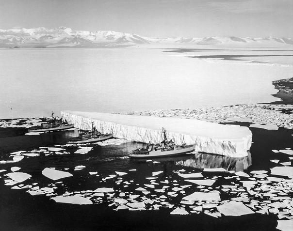 Фото из Антарктики, 1965 года. Ледоколы толкают айсберг чтобы освободить проход в проливе Мак-Мёрдо.