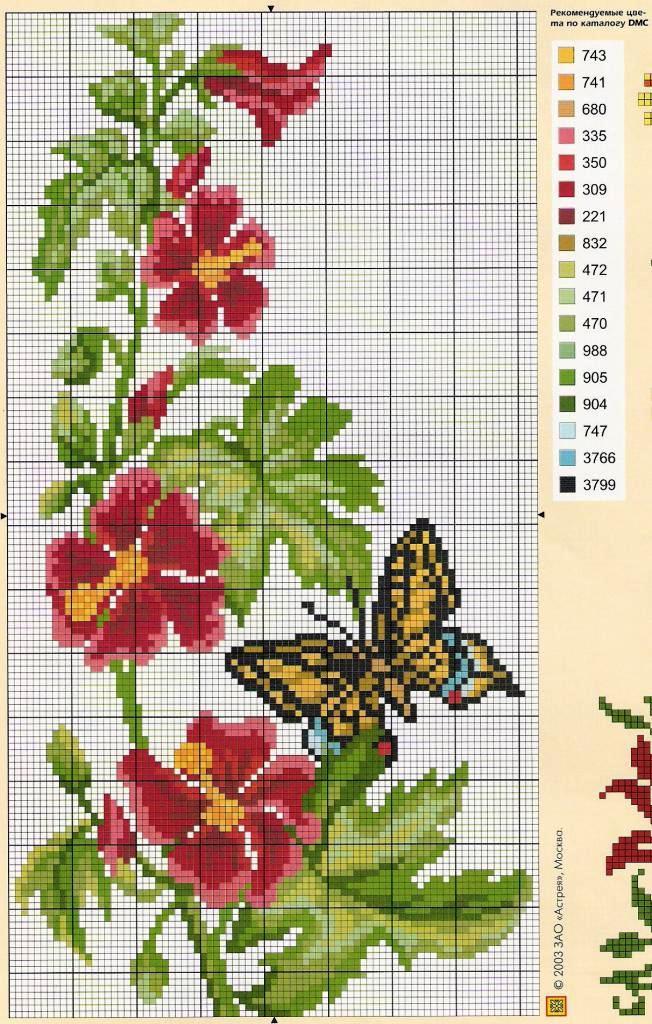 Схем вышивки крестом с бабочкой