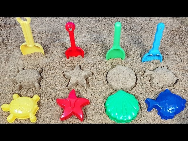 ABC song and colored Sand Molds and rainbow shovels toys on outdoor playground pool video for kids