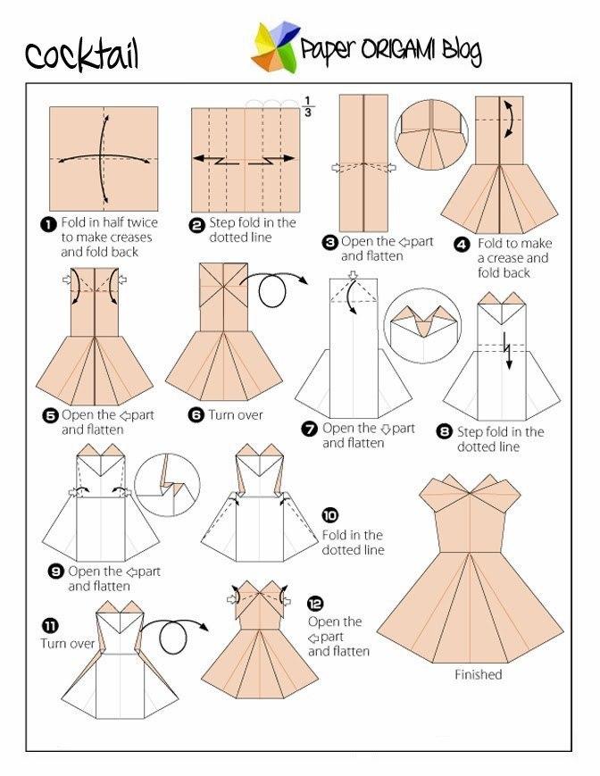 Как сделать из бумаги из оригами платья