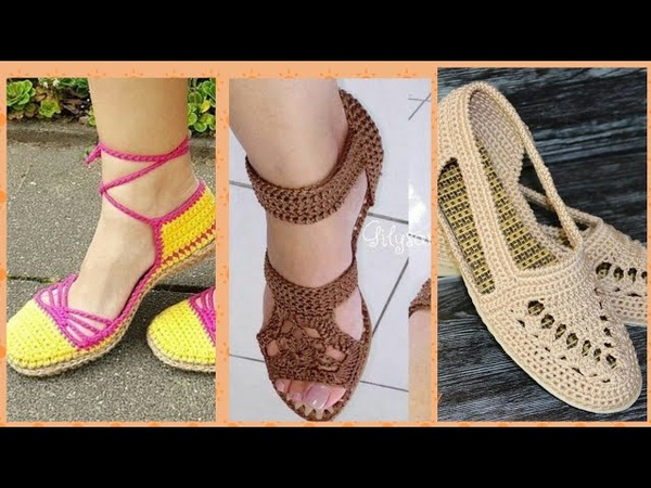 Crochet Espadrilles with flip flop sole cr shoes designs and patren