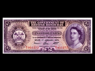 All british honduras dollar banknotes_1952 to 1973 elizabeth ii issues
