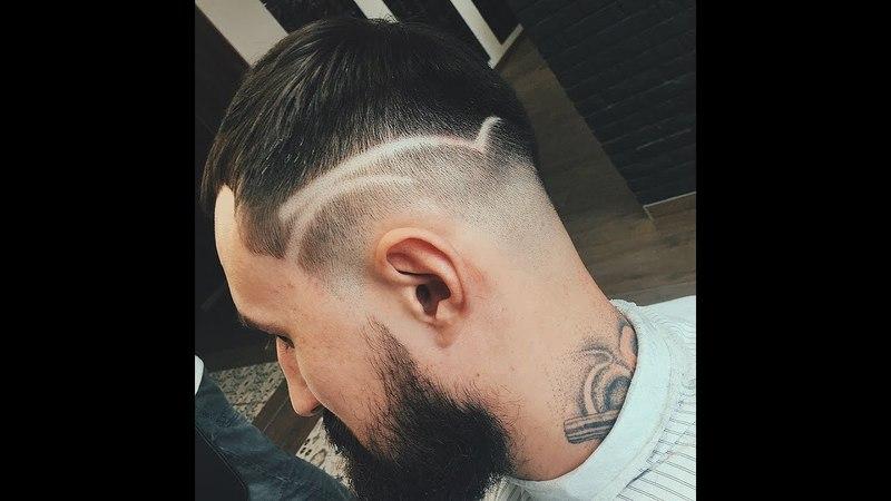 Стрижка текстурированный цезарь с hair tattoo