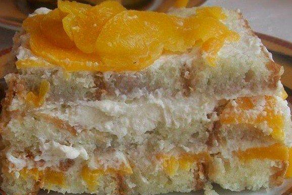 Персиковый торт без выпечки
