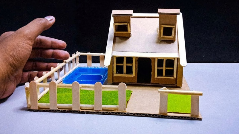 Dollhouse With Pool Using Cardboard and Popsicle Sticks 46