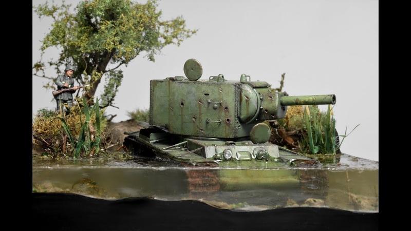 KV-2 Russian Tank Abandoned in Water 1942 - Diorama 172