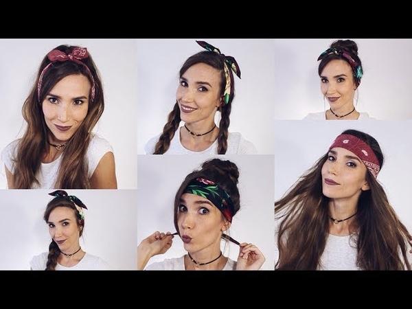 10 ПРИЧЕСОК С БАНДАНОЙ Как носить БАНДАНУ на голове