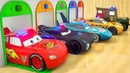 Learn Shapes with Cars Mcqueen Fall into Colorful Pool, Learn Colors with Parking Vehilce for Kids