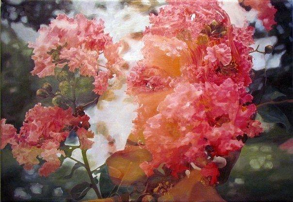 Художница из Сан-Франциско Пакайла Рэ Бин пишет картины в стиле фотографий с двойной экспозицией.