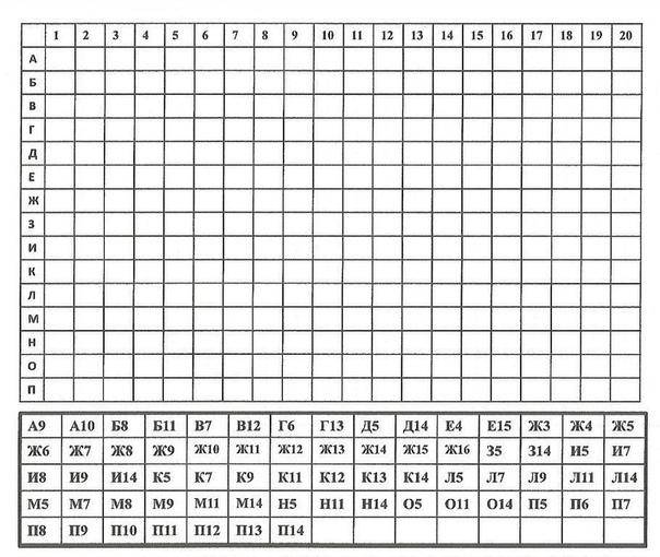 РИСУНКИ ПО КООРДИНАТАМ 1.Распечатайте карточки. 2.Объясните ребёнку принцип нахождения адреса клетки на пересечении столбца с цифрой и строчки с буквой. 3.Предложите ребёнку закрасить клетки,