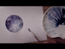 Урок рисования акварельными красками для начинающих ♡ Рисую Луну акварелью Kat