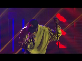 Travi$ Scott on the show with Seth Meyers with tracks