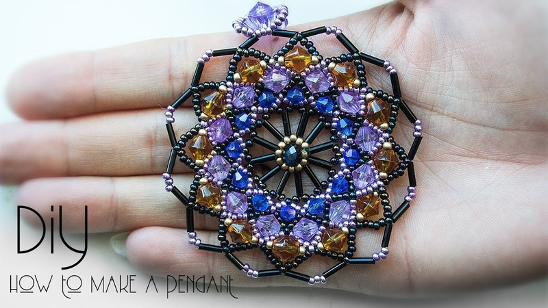 How to make this stunning PENDANT. DIY beaded pendant .Black Pearl