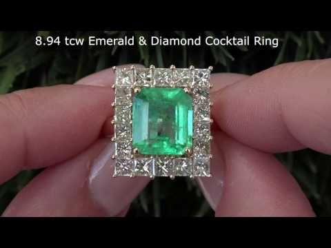 Absolutely Stunning GIA Certified Untreated 8.94 tcw Emerald Diamond Ring C972