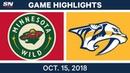 NHL Highlights Wild vs Predators Oct 15 2018