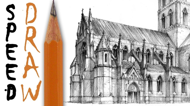 How to draw a gothic church - architecture speed drawing
