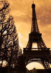 Silhouette of the Eiffel tower at sunset - Paris, France Фото со стока - 366484.