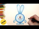 Как Нарисовать Смешарика Кроша поэтапно - Учимся рисовать Смешарика
