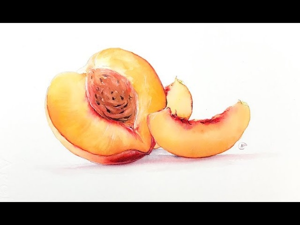 Peach Painting Watercolor Technique