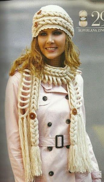 Вязание шапки и шарфа спицами.