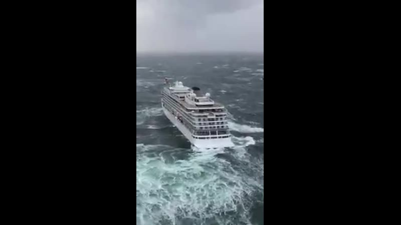 A Helicopter View The Viking Sky cruise ship off the coast of Norway