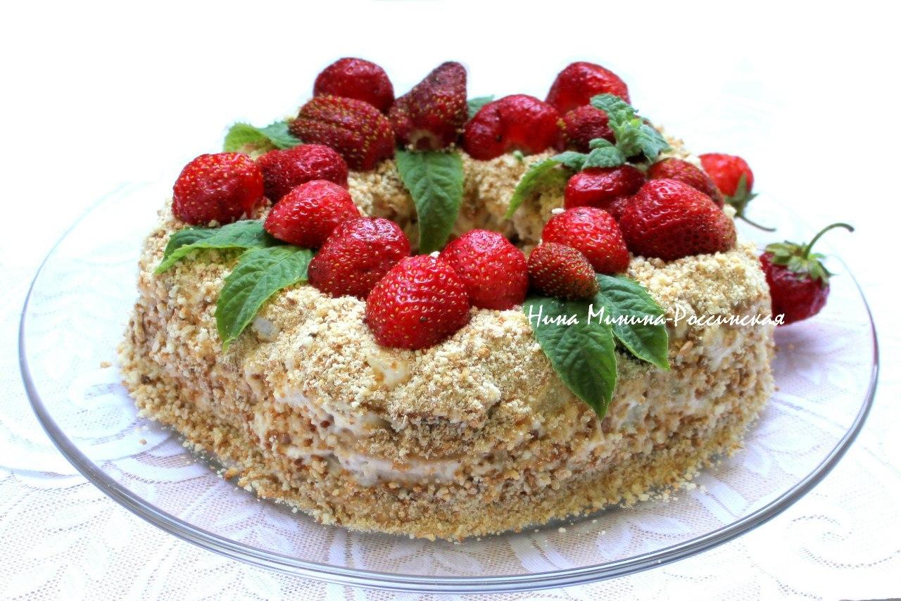 Торт из пряников с фруктами и сметаной и рецепт