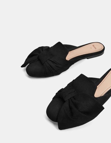 Туфли-мюли на плоской подошве, с бантом