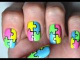 Neon Puzzle Nail Art Tutorial / Маникюр Пазл