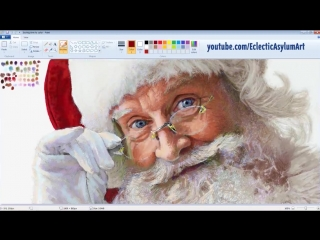 [Eclectic Asylum Art] Unbelievably Realistic Microsoft Paint Art : Santa Claus Speed Painting Time Lapse