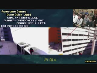 [SpeedDemosArchiveSDA] Mirror's Edge :: Live RACE ft. Ovendonkey VS ddaanniieell #AGDQ 2014