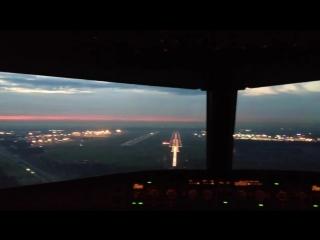 Посадка в Шереметьево,А320,Аэрофлот - Российские Авиалинии