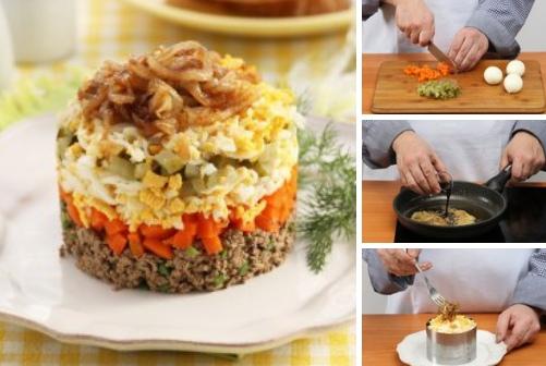 Салат из куриной печени с карамелизированным луком