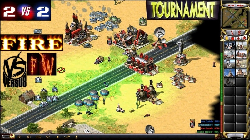 Red Alert 2 Yuris Revenge - 2 vs 2 Tournament - [FIRE] vs [fw] on the map Country Swing