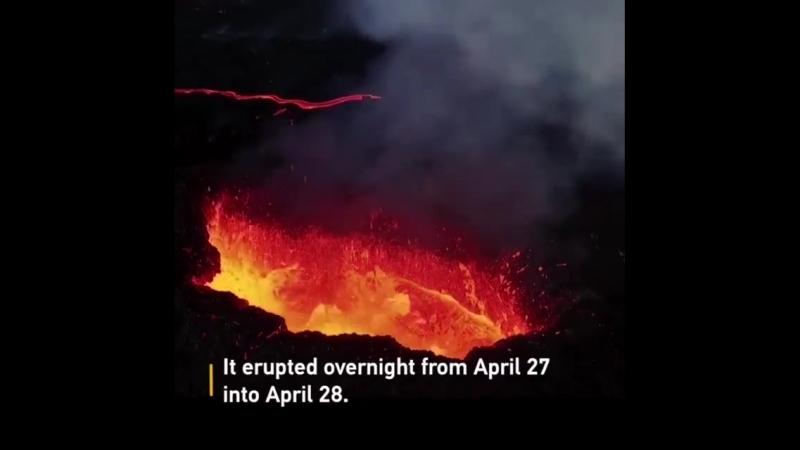 Drone footage shows Piton de la Fournaise continues to spew lava, smoke