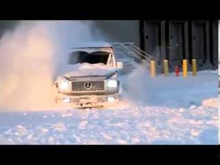 По сугробам на Мерседес Mercedes AMG G55 mp4 new HD 720p