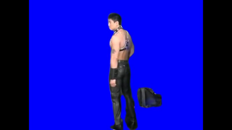 Gachimuchi Van Darkholme with a bag on a blue screen Ван Даркхолм с сумкой на синем экране