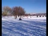 Катание с горки в Парке Ленинского Комсомола.