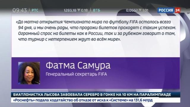 Новости на Россия 24 • ФИФА распределила 568 тысяч билетов на Чемпионат мира путем случайной жеребьевки