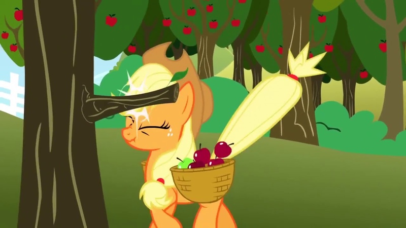Applejack hits a tree branch and yells OWW 264 times
