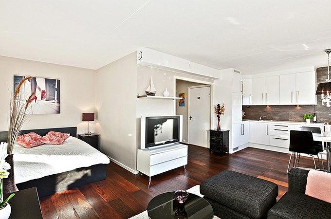 Дизайн квартиры свободной планировки 35 м в Накке / Швеция - http://kvartirastudio.