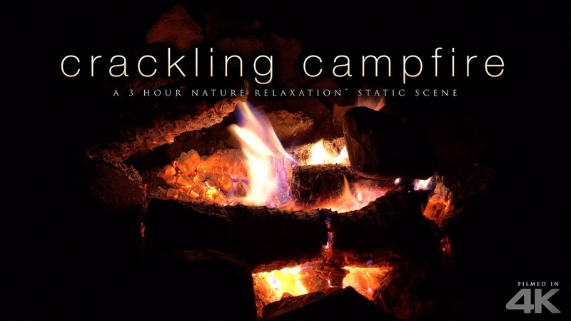 4K Crackling Campfire Scene - 3 HRs Fire Sounds by Nature Relaxation™