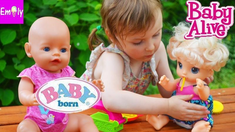 НОВАЯ БЕБИ ЭЛАЙВ РАСПАКОВКА МАЛЫШКА И ЛАПША BABY ALIVE обзор BABY BORN играем с куклами БЕБИ БОН